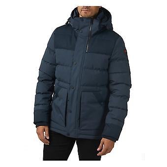 Pajar Locarno Channel Quilted Mixed Media Puffer Coat Navy