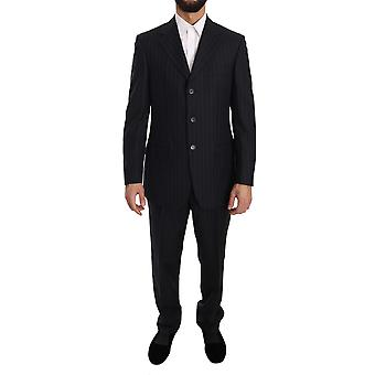 Z ZEGNA Blue Striped Two Piece 3 Button Wool Classic Suit