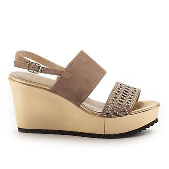 Luca Grossi Rose and Gold Sandals With Wedge and Rhinestones