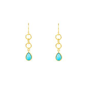 Linked Gemstone Drop Earring Gold Turquoise Light Blue Dangle Hook Silver 925