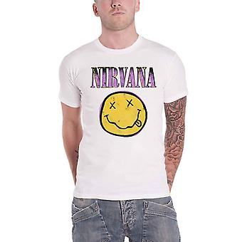 Nirvana T Shirt Smiley Pink Band Logo new Official Mens White