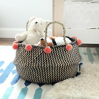 Extra Wide Zig-zag Belly Basket - With Salmon Pom-poms