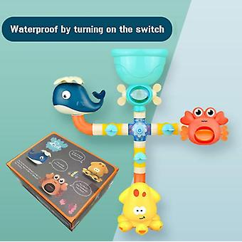 Baby Shower Water Toys Assembled Pipe Spray Educational Toys Baby Bathroom Flower Toys-colorful