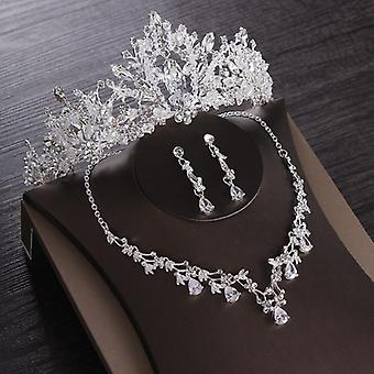 Heart Crystal Bridal Jewelry Sets-cubic Zircon Crown, Tiaras, Earring, Choker,