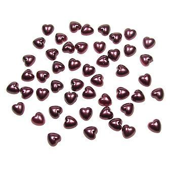 Burgundy Pearl Heart Shape Beads Flat Backed. Pack of 50 Beads