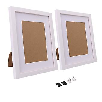 2 x Picture Photo Frames 8x10 Inch with Mat for Tabletop Display White