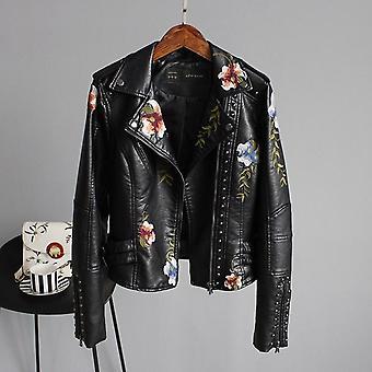 الأزهار طباعة التطريز فو سترة جلدية ناعمة دراجة نارية بانك معطف