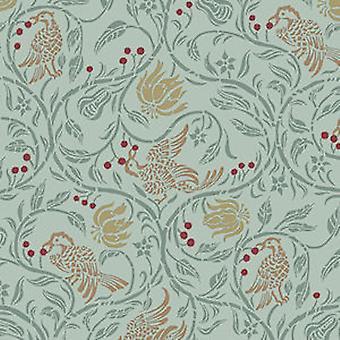 Melody Jane Dolls House Birds & Berries Miniature Print 1:24 Wallpaper Green
