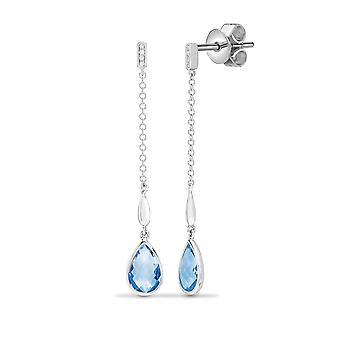 Jewelco Londen 18ct witgoud RUB over set 0.03 Ct Diamond en Pear blauw 3.2 CT Topaz levendige tranen van vreugde drop oorbellen