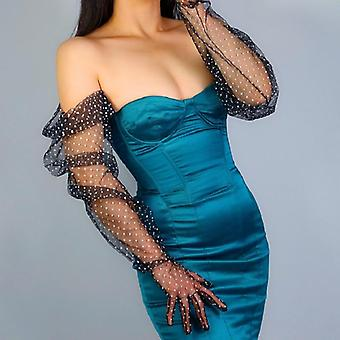 Cham Opera Polka Dot Formal Prom Lace Gloves Tulle Mesh Semi Sheer