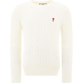Ami A20hk017009150 Men's White Cotton Sweater