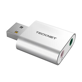 Tecknet aluminum usb sound card external stereo sound adapter for windows and mac, plug and play, no
