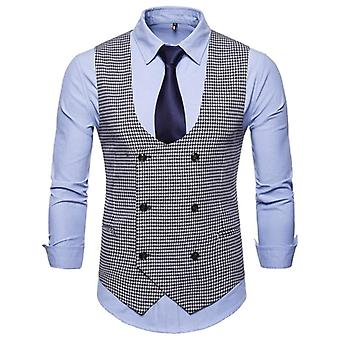 Men's Classic Party Wedding Paisley Plaid Waistcoat Vest Pocket Square Tie Suit