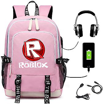 Monde virtuel Roblox sac à dos USB charge sac à dos étudiant
