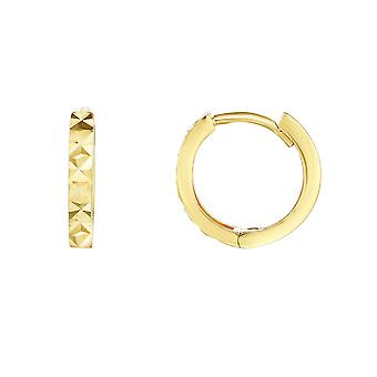 14K желтое золото Алмаз Огранка Круглый Huggie обруч Серьги, 12mm