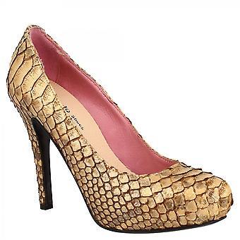 Leonardo Shoes Women's käsintehty tyylikäs korkokengät tasangolla pumppaa kenkiä pronssi python nahka
