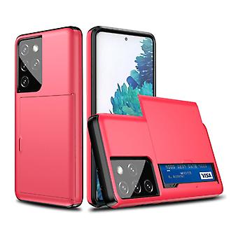 VRSDES Samsung Galaxy J3 - Wallet Card Slot Cover Case Case Business Red