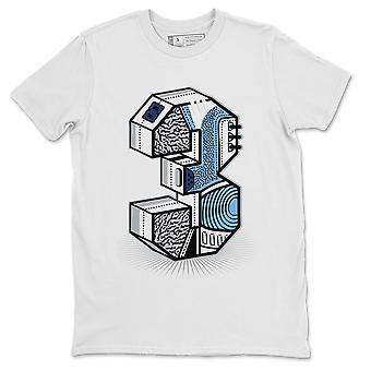 "Drie Standbeeld Wit T-shirt Jordan 3 Valor Blue UNC Sneaker Outfit"""