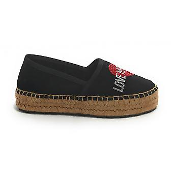 Women's Shoe Love Moschino Espadrillas Black Suede/ Rope Bottom Ds21mo01