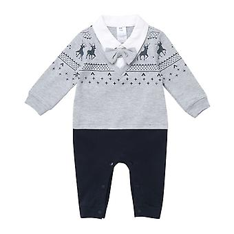 Infant Boys Gentleman Long Sleeve Tuxedo Outfits with Bow Tie  12-18months