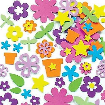 Baker ross self adhesive flower garden felt stickers, for kids to decorate collage, cards & craft (p