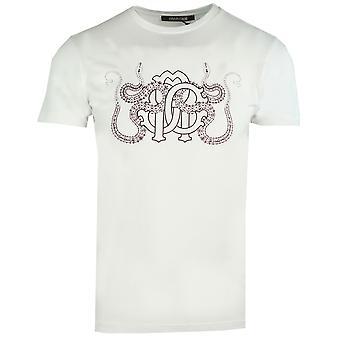 Roberto Cavalli gespiegelt RC Logo weißes T-Shirt