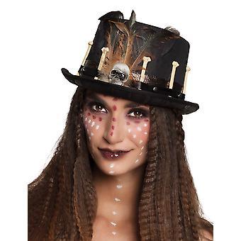 Volwassen zwarte voodoo hoge hoed