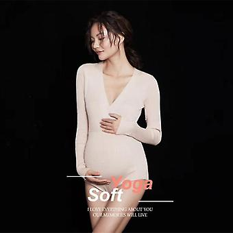 Women Photography Props Maternity Dresses Pregnancy V-neck Full Sleeves Clothes