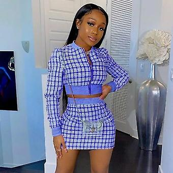 Fashion Long Sleeve Plaid Crop Top And High Waist Skirt Two-piece Set