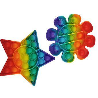2-Pack Непоседа игрушка Поп Это игрушка Стресс Расслабьтесь Радуга звезда и цветок