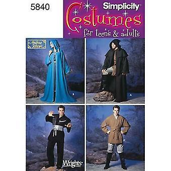 Simplicity Sewing Pattern 5840 Adults Teens Costumes Tunic Belt Size XS-XL UC