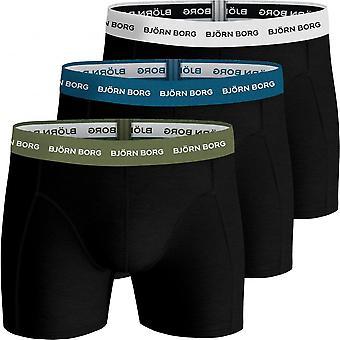 Bjorn Borg 3-Pack Contrast Waistband Boxer Trunks, Black W/ Blue/khaki/white