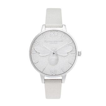 Olivia Burton Ob16fb20 Glitter Demi Dial Pearl Bee Shimmer Pearl & Silver Watch