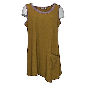 LOGOTIPO por Lori Goldstein Women's Top Long Tank With Pocket Green A350575
