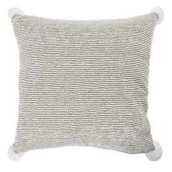pillow striped 45 x 45 cm textile grey/white