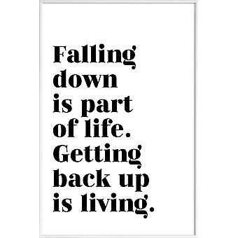Stampa JUNIQE - Get Back Up - Poster tipografico & simboli in bianco e nero