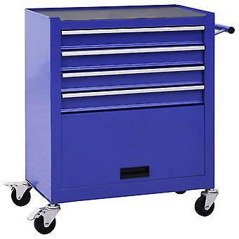 vidaXL työkaluvaunu 4 laatikkoa teräs sininen