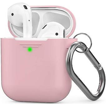 Ροζ θήκη σιλικόνης airpods με μήλο συμβατό με πόρπη 2 & 1 dt6771