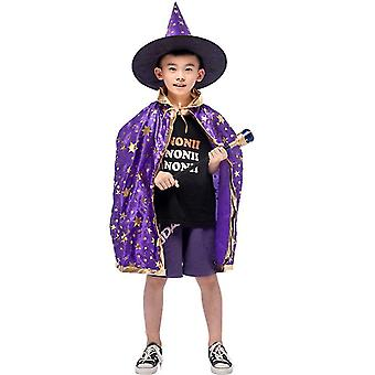 Wizard Cape Witch Cloak With Hat, Halloween Costume For Kids Cosplay Party(Purple)