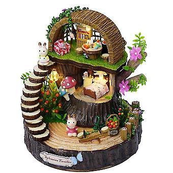 Fantasy Forest Diy Hut Hand Rotating Sky City Music Box Music Box(GROUP1)