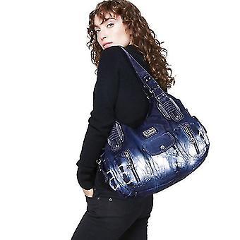Women Handbags Shoulder Bags Washed Leather Satchel Tote Bag Mutipocket Purse(Blue)