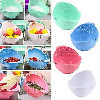 3 In 1 Clamshell Rice Fruit Vegetable Wash Strainer Sieve Kitchen Tool