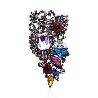 Elegante Damen Brosche bunte Corsage bunten Diamant eingelegt Brosche Pin