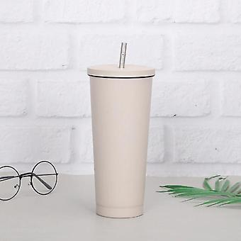 Coffee Cup 304Stainless Steel Vacuum Flask Straw Cup Car Portable Coffee Cup(gray)