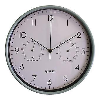 """שעון קיר ירוק 30 ס""""מ עם מדחום / מד לחות"""