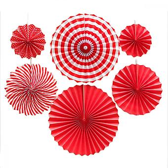 Hanging Paper Fans, 8pcs Party Fan For Birthday Wedding School Event Decoration, Red