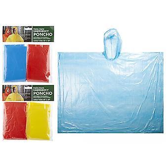 """Twin Pack Emergency Rain Poncho Unisex Adult Size 50"""" X 80"""" (Blue/Red)"""