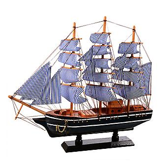 Wooden Sailing Ship Mediterranean Style Home Decoration Handmade Carved Nautical Boat Model Gift