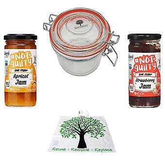 Seven Trees Farm Kit met 4 producten | 1 x Glazen Pot 350ml, 1 x Abrikoos 260g, 1 x Aardbei 260g en een GRATIS Recycle Boomzak