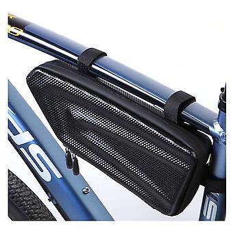 自転車フレームバッグ EVA + PU カーボンファイバー テクスチャ 防水自転車バッグ mtb ロードバイクアクセサリー サイクリング機器(ブラック)